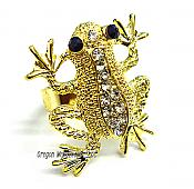 Golden and Crystal Adjustable Frog Ring