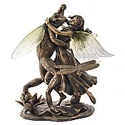 Bronze-Tone Frog Dancing With Fairy
