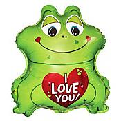 """I love You"" Green Frog Shaped Balloon"