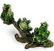 Three-Frogs on Branch Jewel Box