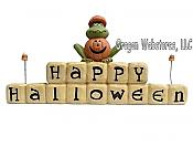 Happy Halloween Sign Block with Frog