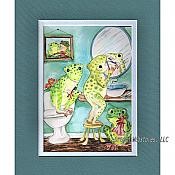 Three Frogs in a Bathroom Matted Print