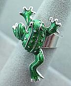 Green Enamel Frog Adjustable Ring