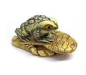 Ivory Look Netsuke Frog