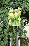 Frog Family on Bench Windchime