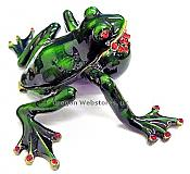 Bullfrog Jewel Box with Ruby Crystal Throat