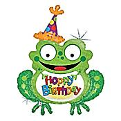 "Jolly ""Hoppy Birthday"" Frog Balloon"
