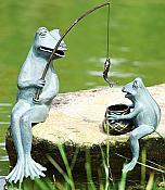 Fishing Frog Mama & Baby Garden Statue