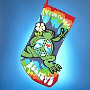 Peace Frogs Applique Christmas Stocking
