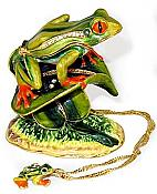 Frog on Leaf Jewel Box w/Necklace
