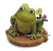 """Live life gently"" Frog Figurine"
