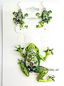 Green Enamel & Crystal Frog Pendant & Earrings Set