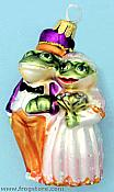 Frog Bride & Groom Ornament (Royal Colors)