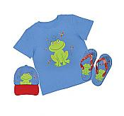 Child's Frog Shirt, Cap & Flip Flop Set