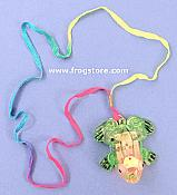 Flashing Green Frog Necklace