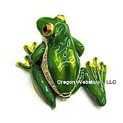 Green Treefrog Enamel Crystal Box