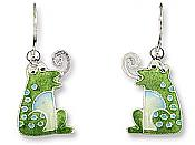 Sterling Enamel Curly-Tongue Frog Earrings