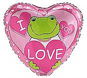 """I Love You"" Mylar Frog Heart Balloon"