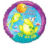 Happy Hoppy Birthday Frog Mylar Balloon
