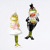 Pair of Bride and Groom Frog Ornaments