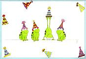 Frogs in Party Hats Birthday Card
