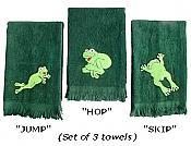 HOP-SKIP-JUMP Frog Guest Towels, set/3