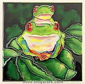 Two Red-Eyed Tree Frogs Large Art Tile