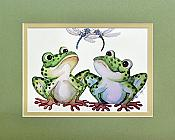 Frogs and Dragonflies Friends Matted Print