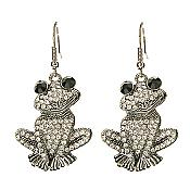 Black-Eyed Sitting Crystal Frog Earrings