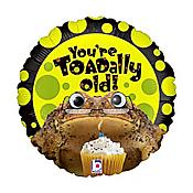 """Toadally Old!"" Google-Eyes Frog Birthday Balloon"