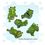 Set of 6 Mini Frog Figurines