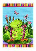 Frog & Dragonflies Garden Flag