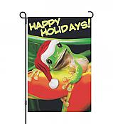 "Mr. Holiday Frog ""Happy Holidays!"" Garden Flag"