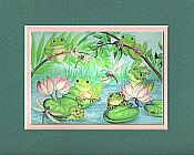 Frogs & Lilypads Matted Print